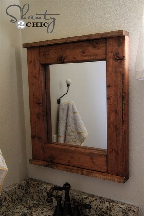 wood bathroom mirror diy wooden mirror shanty 2 chic