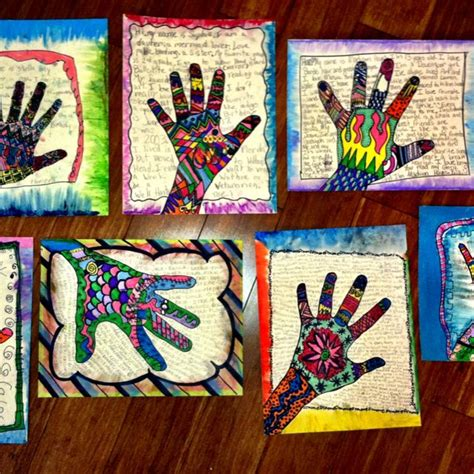 hand pattern art lesson love self portrait hand prints dewestudio lesson have