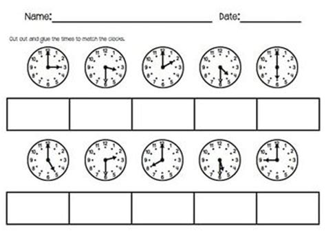 clock worksheets cut and paste ticking time cut and paste telling time to the hour and