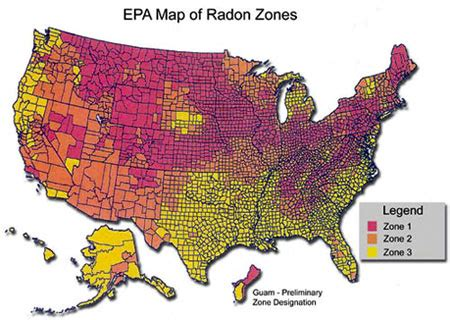 epa us map radon gas information