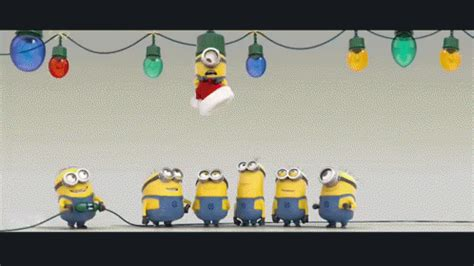 minion christmas light gif minion christmas light