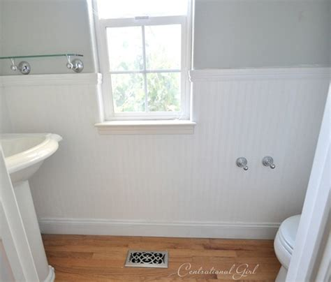 how to put up beadboard in bathroom installing beadboard wallpaper centsational girl
