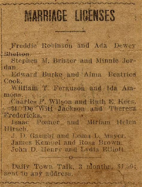 Louisiana Marriage Records Marriage Licenses 1918 Alexandria Daily Town