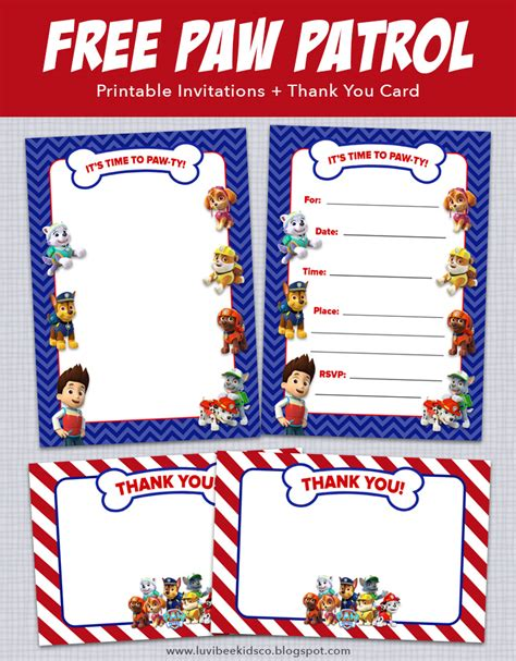 paw patrol thank you card template paw patrol birthday invitations free printables