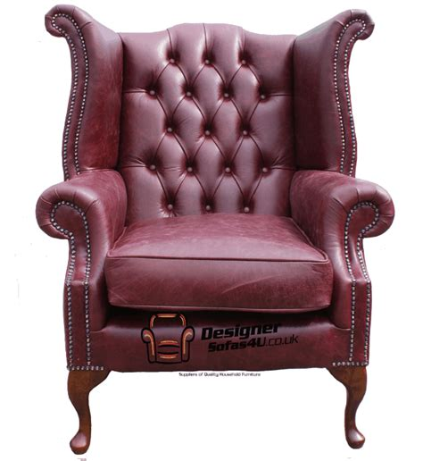 High Back Winged Leather Armchairs by Chesterfield Armchair High Back Wing Chair