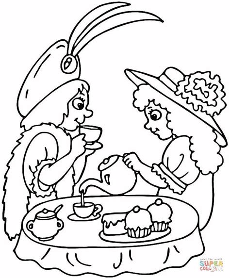 tea party coloring page free printable coloring pages