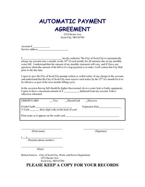 Agreement Letter Synonym Related Keywords Suggestions For Monthly Payment Plan Form