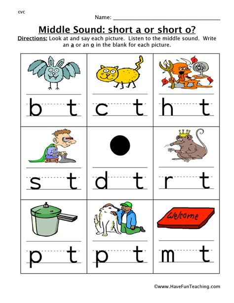Middle Sound Worksheets by Middle Sounds Worksheets Teaching