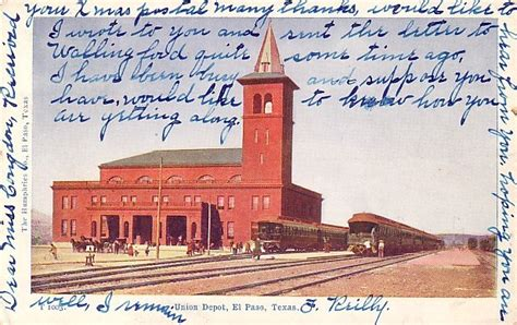 union depot at el paso tx 1907 vintage postcard 3630