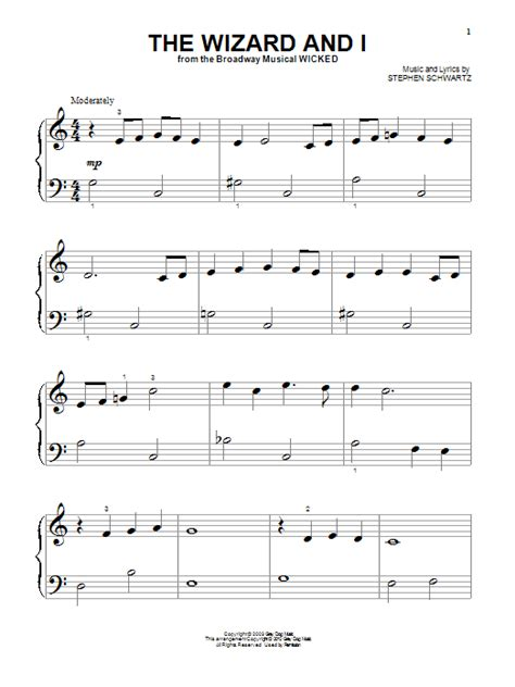 wizard music the wizard and i sheet music direct
