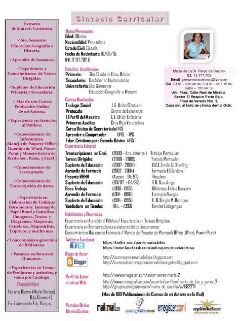 Plantilla De Sintesis Curricular Autora P 233 Rez Mar 237 A De Los Angeles Sintesis Curricular