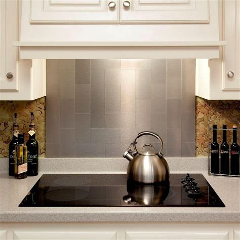 Metal Tiles For Kitchen Backsplash 4 Pieces Peel And Stick Stainless Steel Backsplash Tiles Brushed Metal