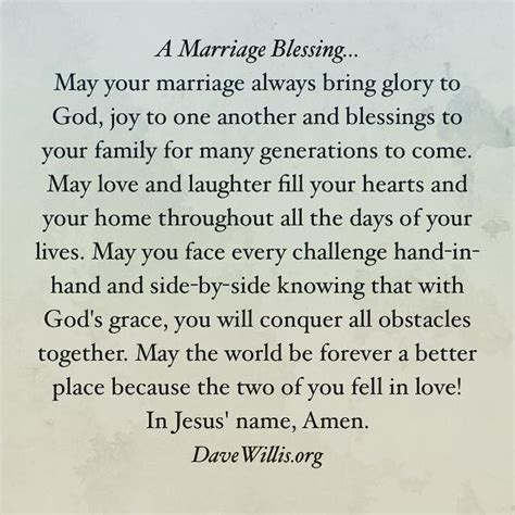 Wedding Anniversary Prayer Quote by A Marriage Blessing Christian Marriage Wedding