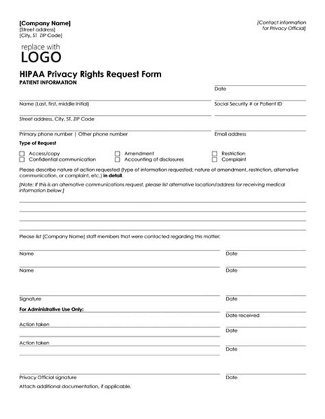 Download Hipaa Privacy Rights Request Form Template Microsoft Word Reports Form Templates Microsoft Forms Templates