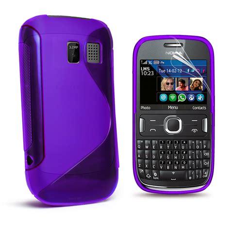 Casing Hp Nokia Asha 302 purple s line wave gel cover for nokia asha 302 screen protector ebay
