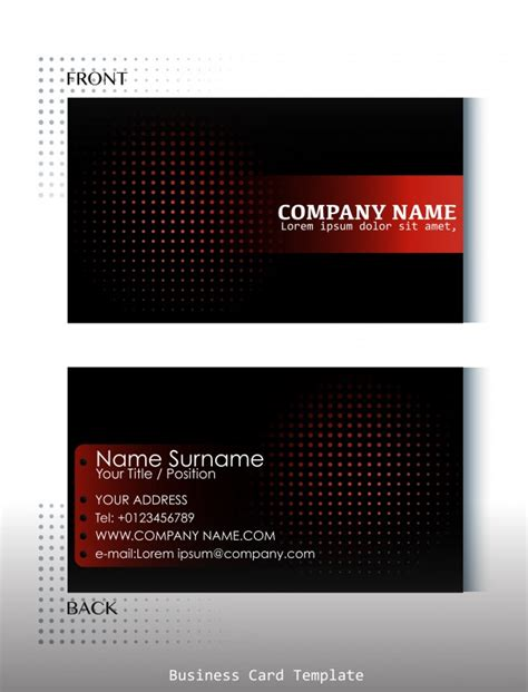 business card back template template of front and back view of business card vector