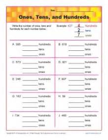ones tens and hundreds place value worksheets for 2nd