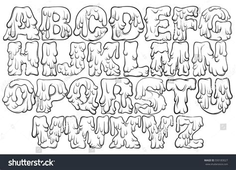 Printable Melting Font | vector melting type trendy font made in hand drawn line