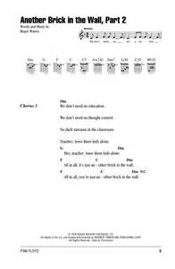 Comfortably Numb Chords And Lyrics Another Brick In The Wall Part 2 Sheet Music By Pink