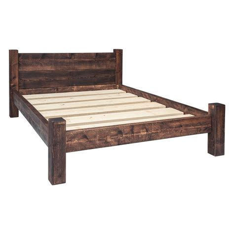 wood frame bed bed frame double plank headboard funky chunky furniture