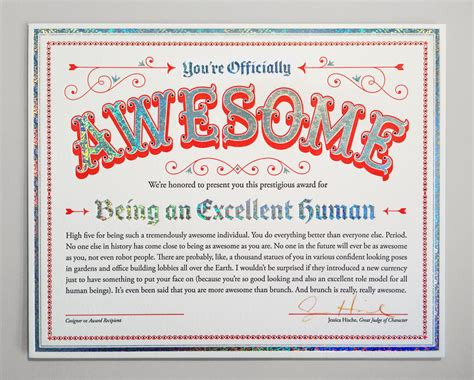 certificate of awesomeness template certificate of awesomeness because you are thrill of