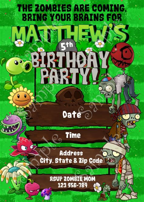pvz card template plants vs zombies birthday invitation plants vs zombies