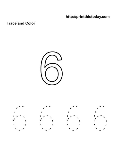 printable tracing number 6 free kindergarten math worksheets number six 6