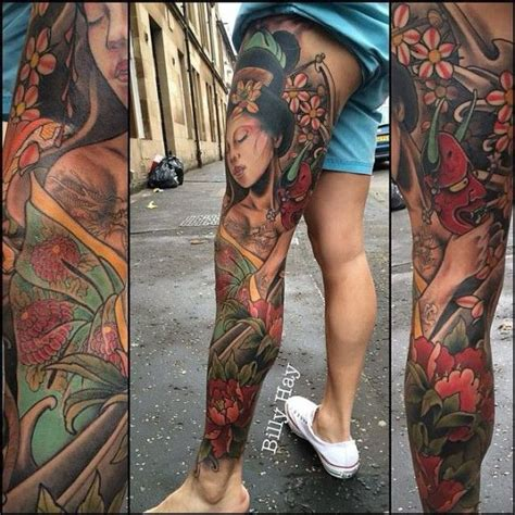 tattoo geisha leg japanese inspired leg sleeve with geisha by billy hay