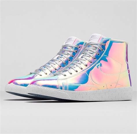 shoes holographic rainbow sneakers adidas metallic shoes high top sneakers nike blazer