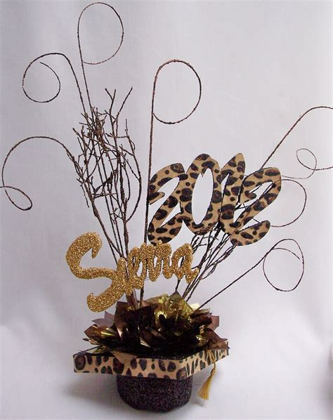 animal print themed graduation centerpiece designs by ginny