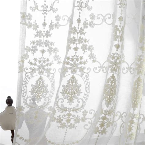 Sheer Fabric For Curtains Designs European Palace Designs Luxury Cotton Thread Embroidered Sheer Curtains For Living Room Kitchen