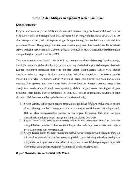 (PDF) Covid-19 dan Mitigasi Kebijakan Moneter dan Fiskal