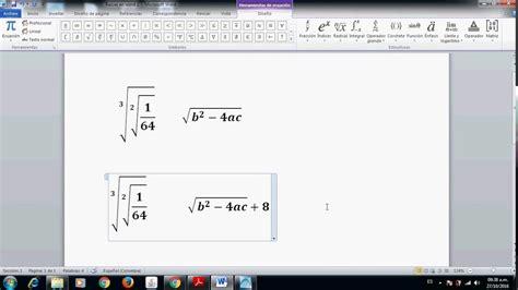 simbolo raiz cuadrada en word c 243 mo poner ra 237 ces o radicales en word parte 2