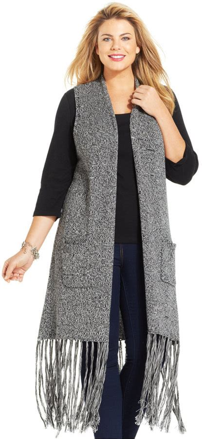 Wst 7390 Fringed Cardigan Black ny collection plus size sleeveless fringed duster cardigan