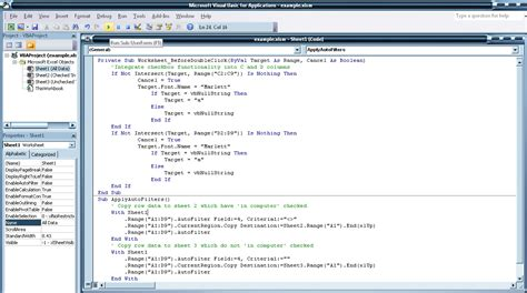 coding in visual basic for excel project excel calcuate column values use checkboxes in