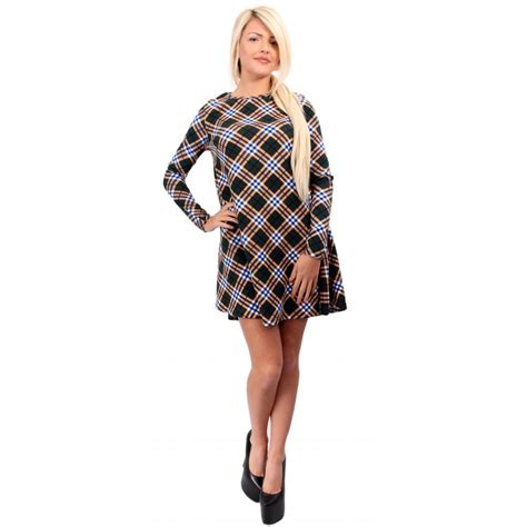 swing dress tartan tartan checked long sleeve swing dress from parisia