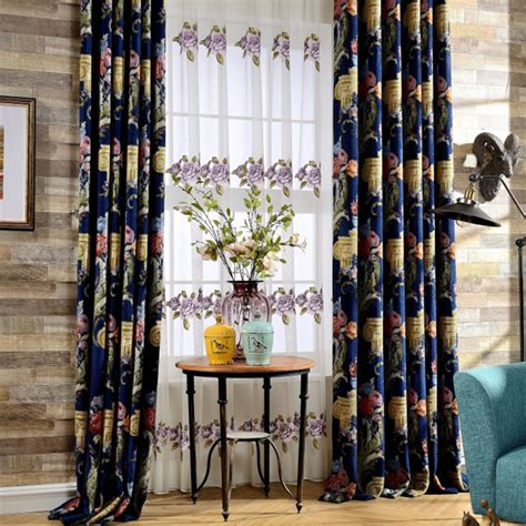 Navy Floral Curtains Navy Blue Floral Chenille Thermal Bedroom Curtains