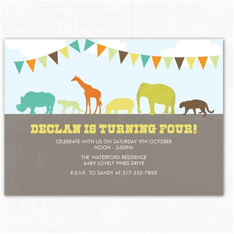 printable zoo animal invitations zoo birthday party invitation perfect for zoo by