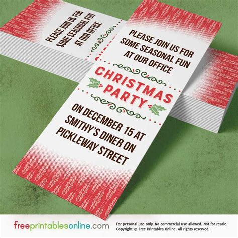 holly red printable office christmas party invitations