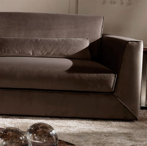 exclusive modern italian chocolate brown velvet sofa