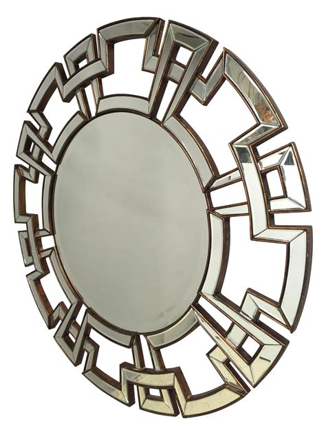 greek key motif round greek key motif mirror chairish