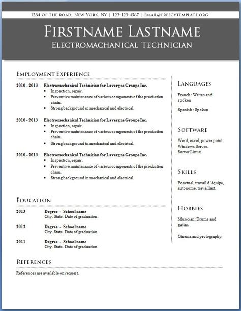 resume templates word free learnhowtoloseweight net
