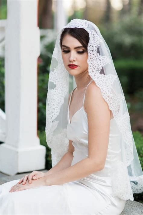 Wedding Hairstyles With Lace Veil by Leonor Veil Mantilla Veil Lace Veil Bridal Veil