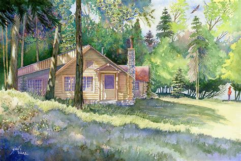 Log Cabin Paintings by Log Cabin By Gail Vass