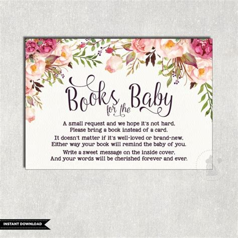 bring a book instead of a card baby shower templates floral books for baby insert card flower baby shower