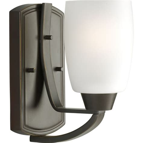 Single Sconce Bathroom Lighting Progress Lighting P2794 20 Antique Bronze Wisten Single Light Bathroom Sconce With Etched Glass