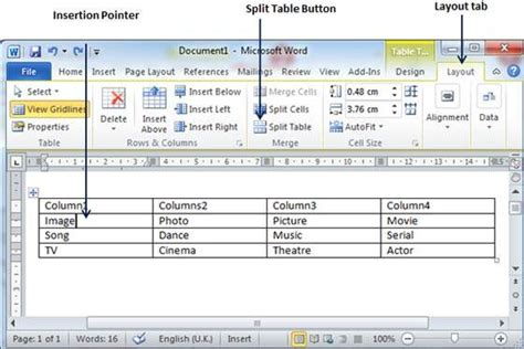 jsp layout exle split a table in word 2010