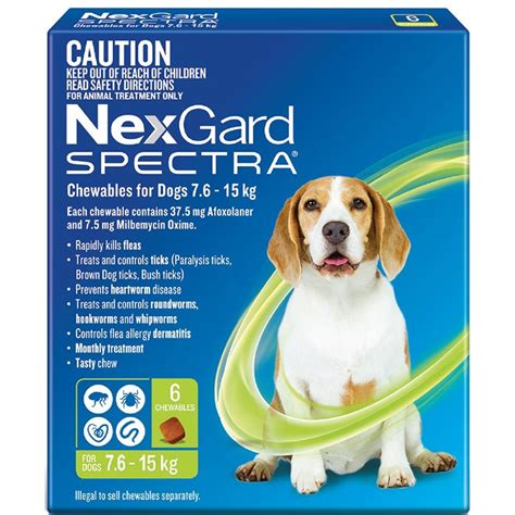 nexgard chewables for dogs nexgard spectra chewables for dogs green 7 6 15kg 6 pack