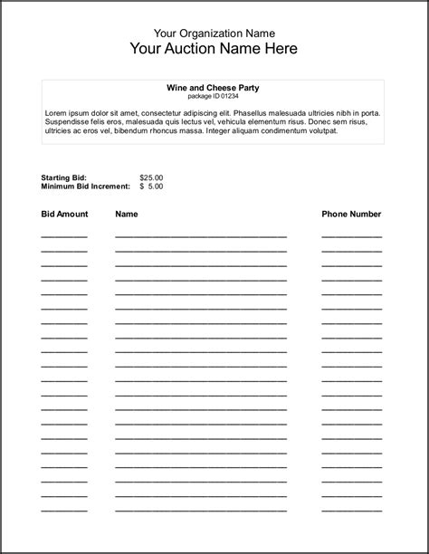 silent auction bid sheet template google search misc within
