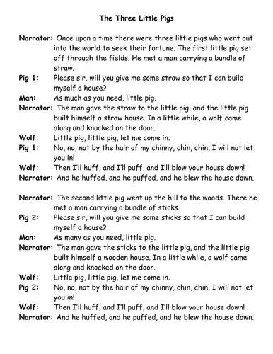 3 little pigs play script by samdaunt77 - Teaching